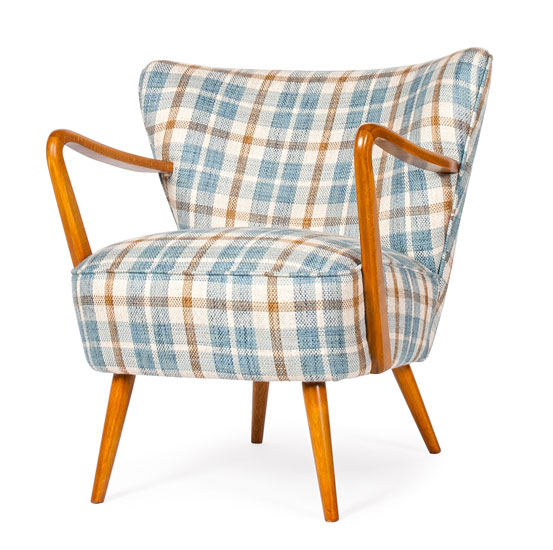 Cocktail Chair Blue Check